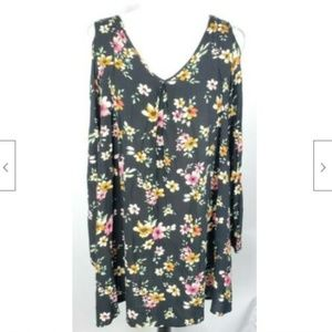 Umgee Tunic Top L Floral Cold Shoulder Slit Sleeve